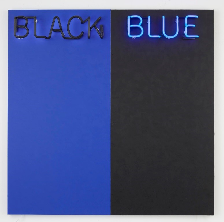 Deborah Kass, Black and Blue #2 , 2015. mixed media,72 x 72 inches; 182.9 x 182.9 cm;©Deborah Kass