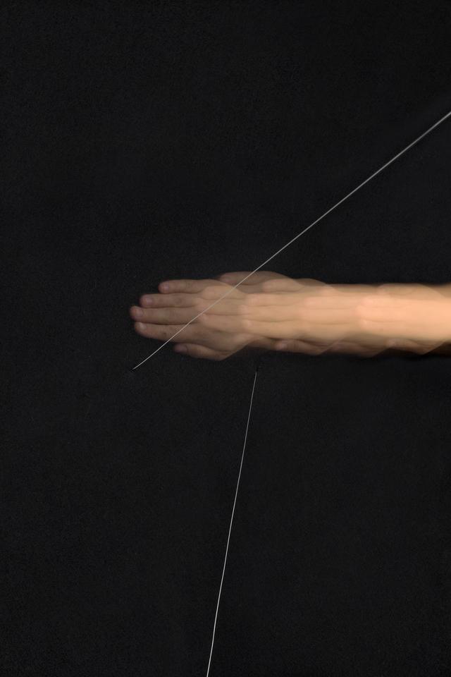 Image features detail of Naama Tsabar,  Work On Felt (Variation 15) Black , 2017