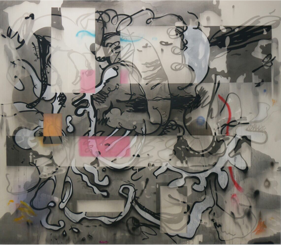 Jan-Ole Schiemann,  Pinball Wizard , 2017, ink and acrylic on canvas, 78 3/4 x 90 1/2 inches, 200 x 180 cm