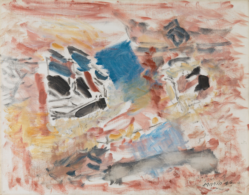 John Marin,  Movement VI , 1946. Oil on Canvas. 22 x 28 inches. 55.9 x 71.1 cm. Courtesy Private collection © The Estate of John Marin/ Artists Rights Society (ARS), New York.