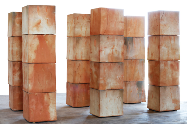 View of Bosco Sodi's clay cubes at Fundación Casa Wabi, Oaxaca Mexico. Photo credit: Michel Zabé