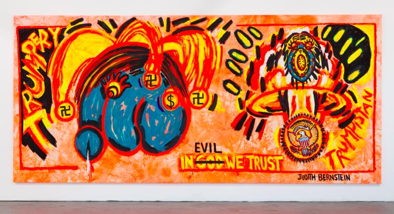 Judith Bernstein,  In Evil We Trust , 2017, acrylic and oil on canvas, 105 x 240 inches, 266.7 x 678 cm © Judith Bernstein.
