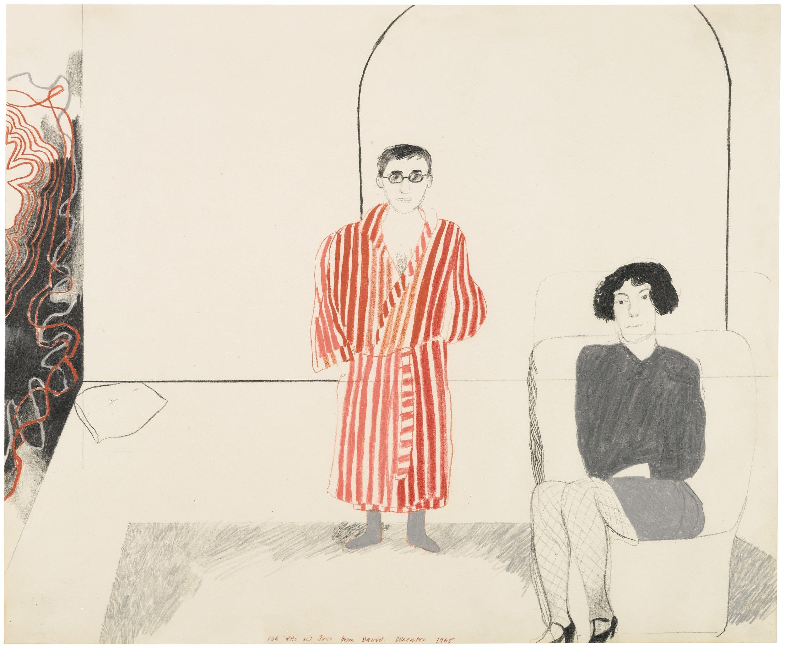 David Hockney,  Kas and Jane , 1965 © Paul Kasmin Gallery and David Hockney