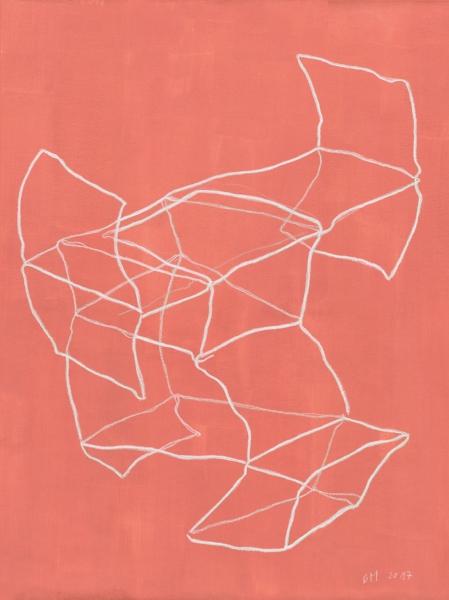 Brigitte Mahlknecht,  Fast Architektur 1 , 2017, Wax crayon on primed paper, 22 x 19 1/2 inches (55.8 x 41.7 cm), Courtesy of the artist.