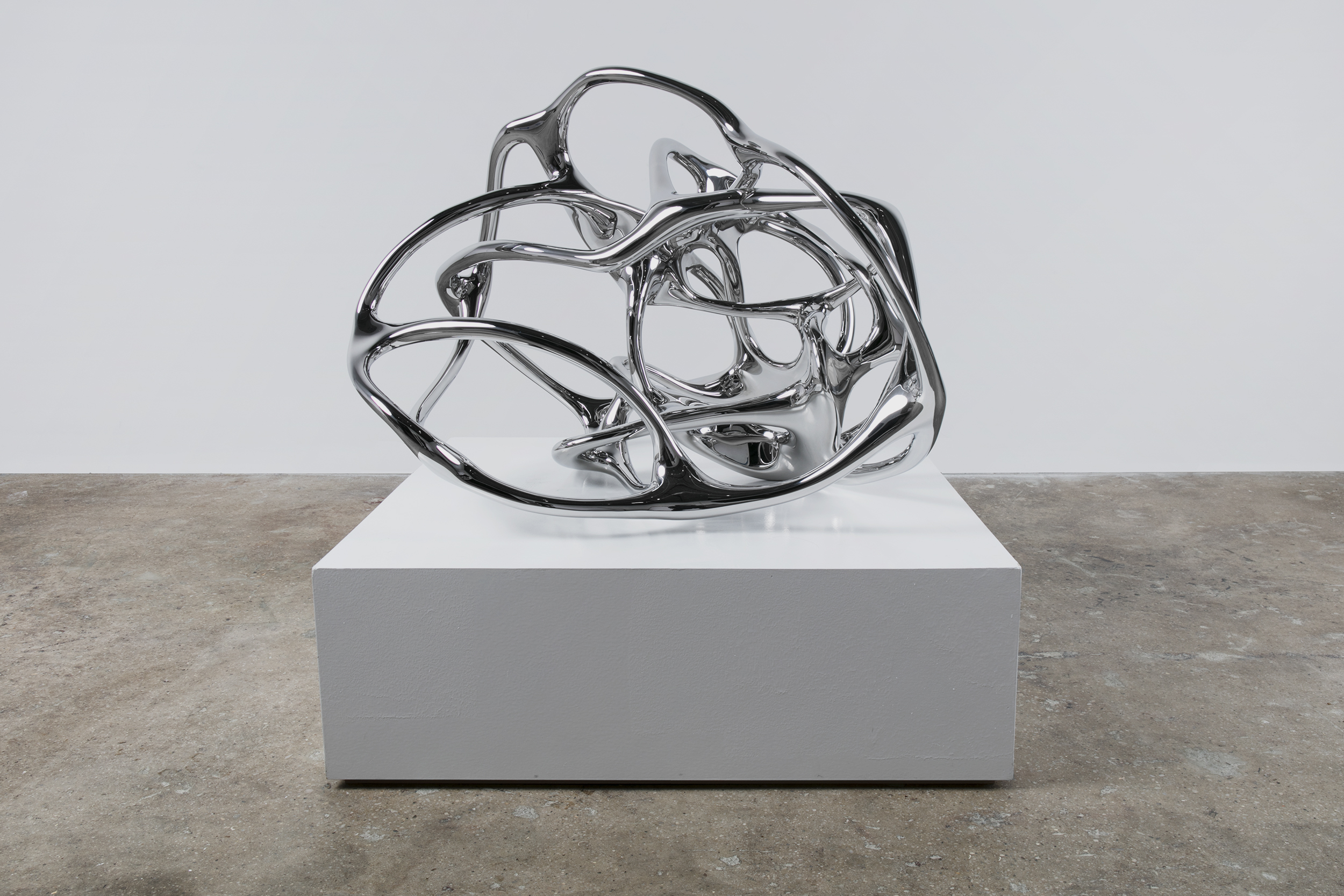 Saint Clair Cemin, Soma, 2017, stainless steel, 28 x, 40 x 40 inches, 71.1 x 101.6 x 101.6 cm, Edition of 3 + 1 AP. Photo: Diego Flores. Courtesy the artist and Paul Kasmin Gallery