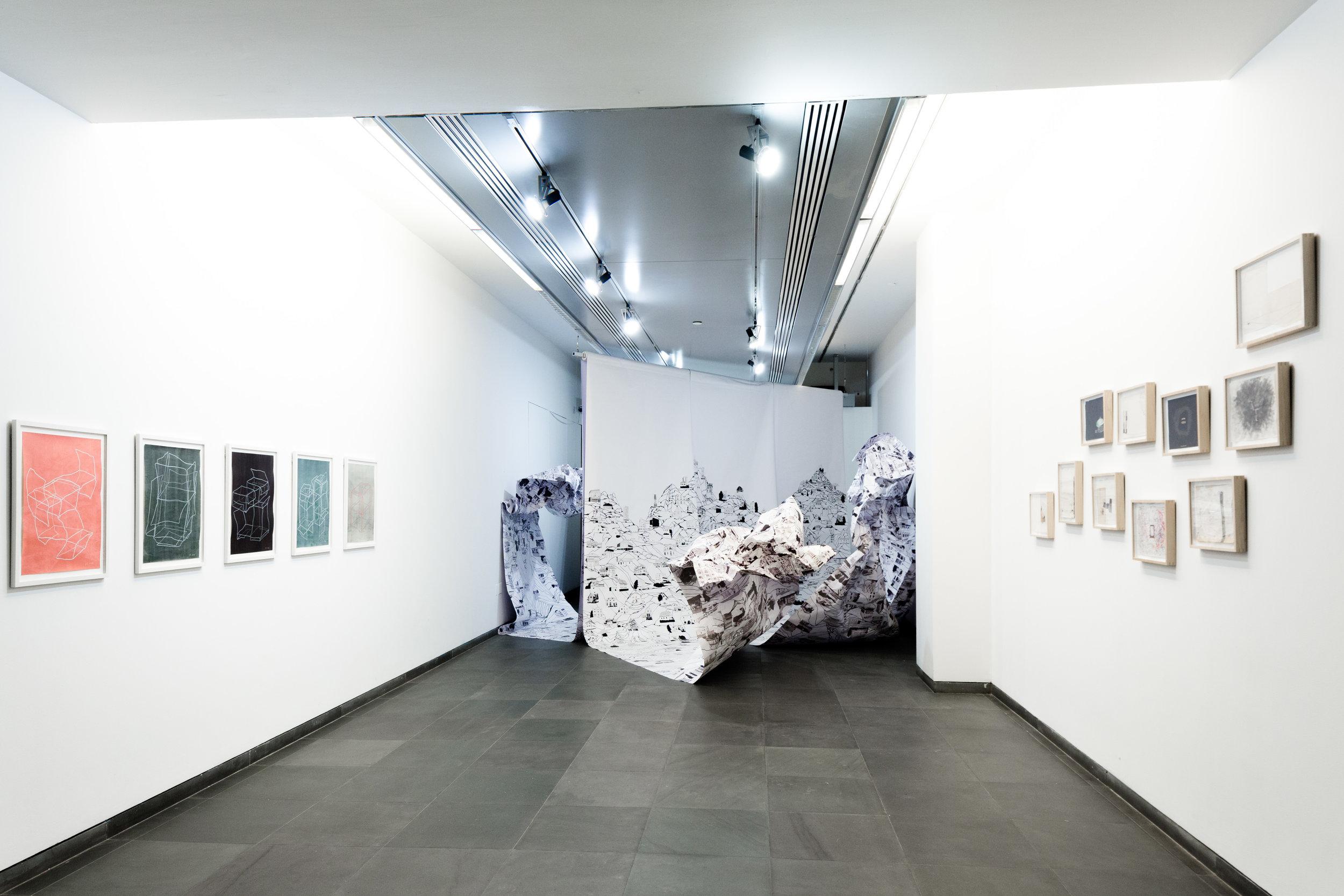Installation view of works by Brigitte Mahlknecht (left), Judith Saupper (center), William Cordova (right). Image Courtesy ACFNY/Luca Mercedes