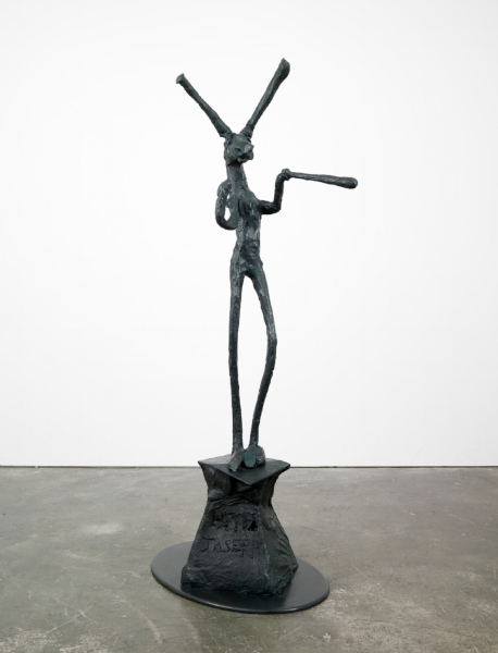 """Barry Flanagan, Untitled, 1979, hessian, plaster and acrylic, 35 3/8 x 29 1/2 inches, 90 x 75 cm. © (1979) Barry Flanagan. Courtesy of Waddington Galleries. Barry Flanagan, """"Juggler,"""" 1994, bronze, 87 1/2 x 37 3/4 x 26 1/2 inches, 222.3 x 95.9 x 67.3 cm. Edition of 8 + 3 APs (#2/8.) © (1994) Barry Flanagan. Courtesy of Waddington Galleries."""