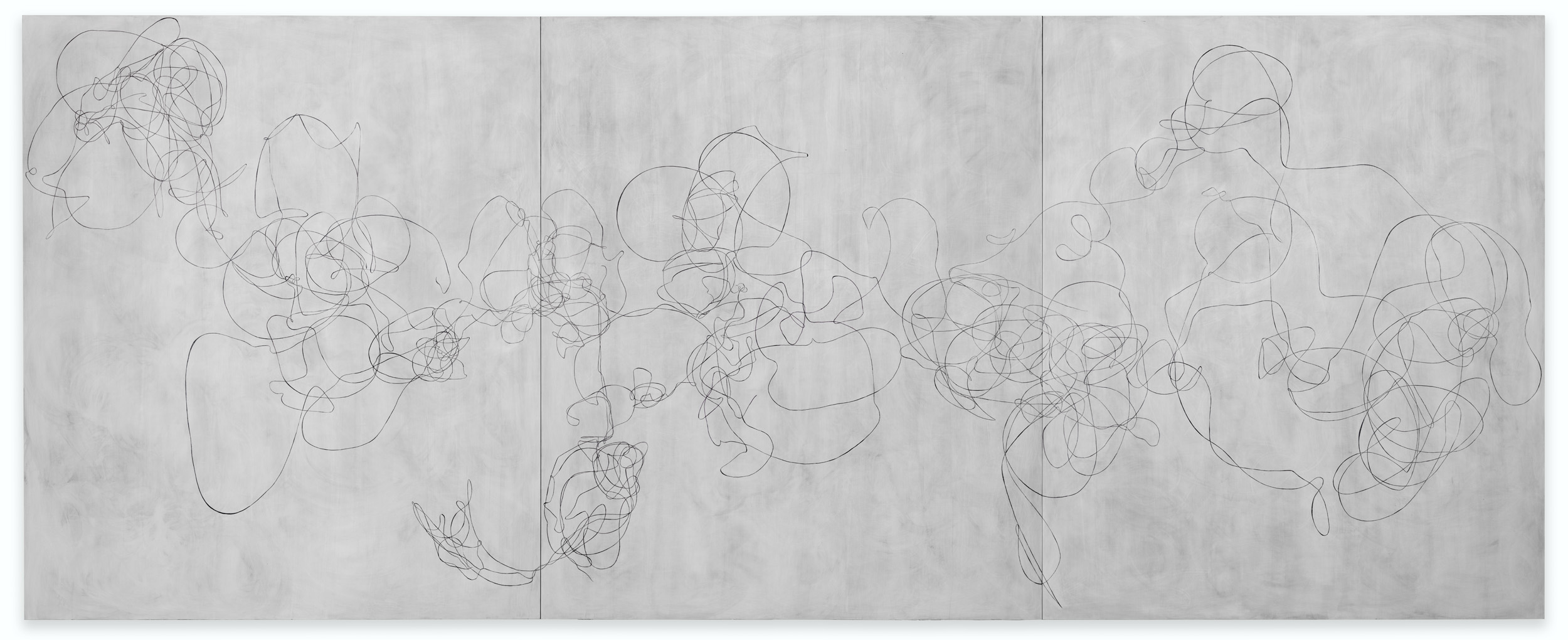 """Elliott Puckette, """"A Love Letter,"""" 2018, gesso, kaolin and ink on dibond, 72 x 180 inches, 182.9 x 457.2 cm. Courtesy of the artist and Paul Kasmin Gallery. Photo by Diego Flores."""