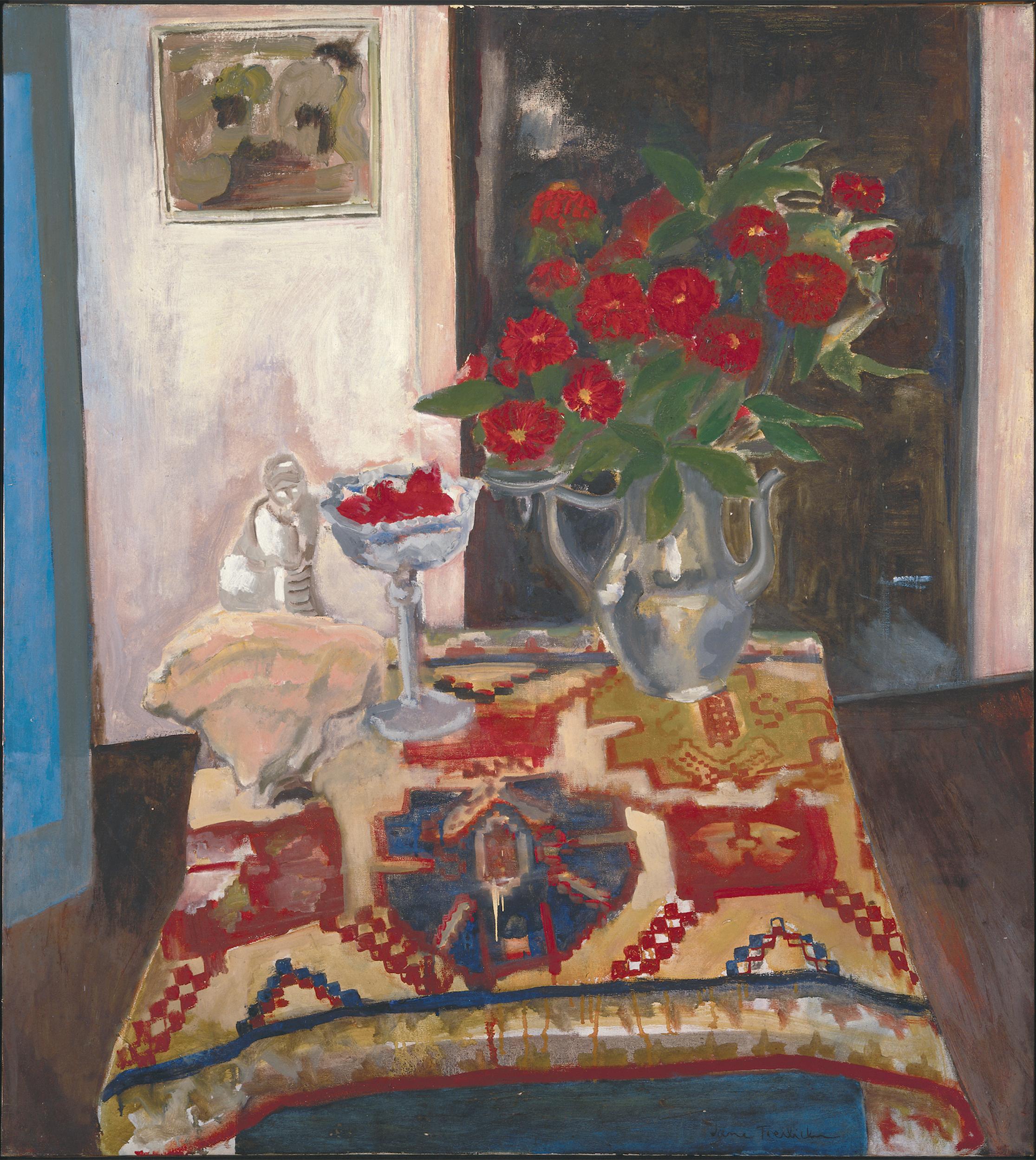 Jane Freilicher, Still Life (Persian carpet), 1955, oil on linen, 40 x 36 inches, 101.6 x 91.4 cm. Courtesy the estate of Jane Freilicher and Paul Kasmin Gallery.