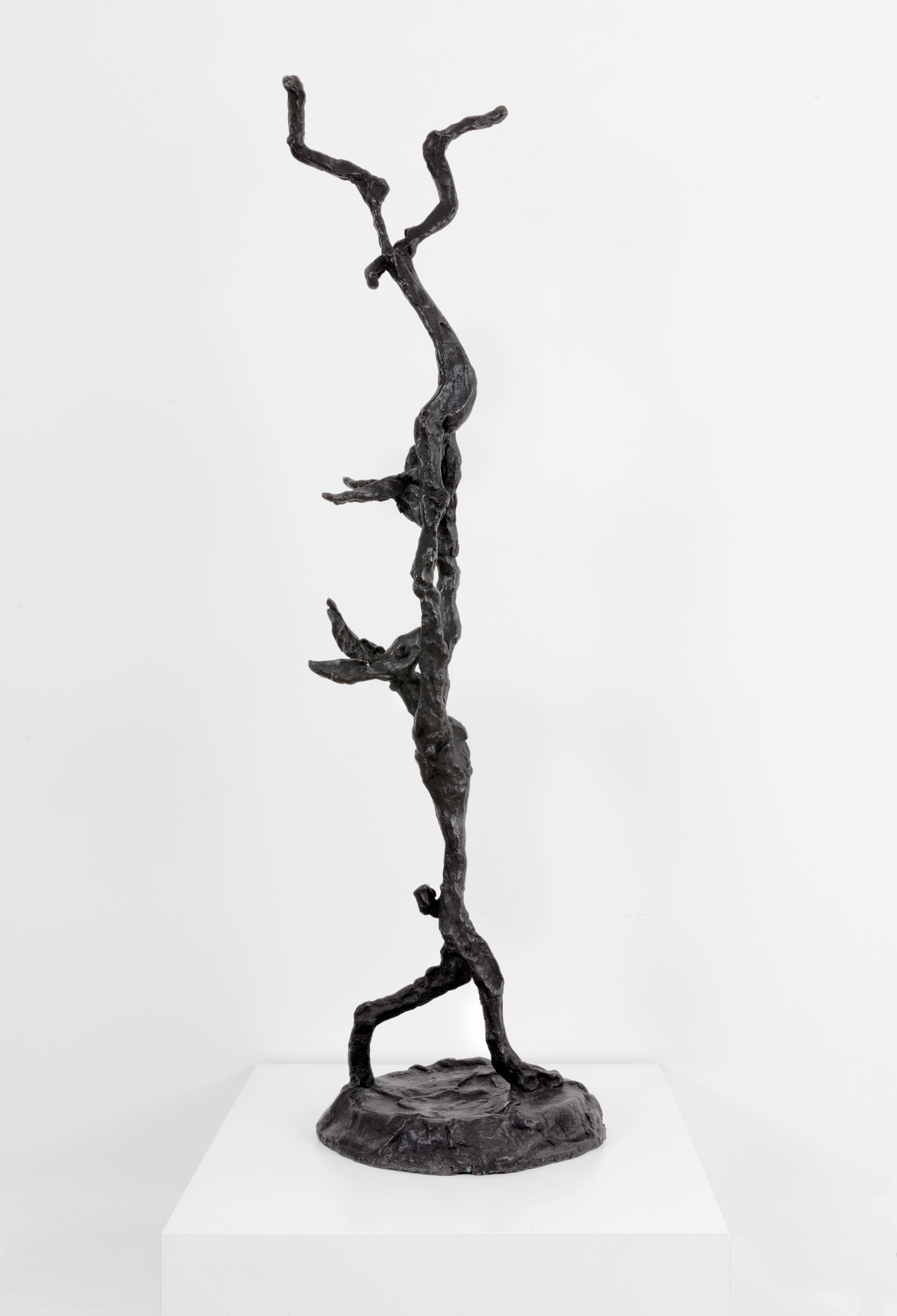 Barry Flanagan,  Acrobats , 2004, bronze, 57 3/4 x 16 1/8 x 16 3/8 inches, 146.7 x 41 x 41.6 cm. Edition of 8 + 3 APs. © 2018 Barry Flanagan. Courtesy of the Estate of Barry Flanagan / Plubronze Ltd.