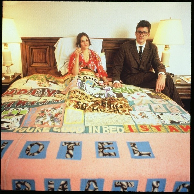 Tracey Emin and Jay Jopling, with Emin's work Hotel International , at The Gramercy International Art Fair in 1994. Image Courtesy of Art in America.