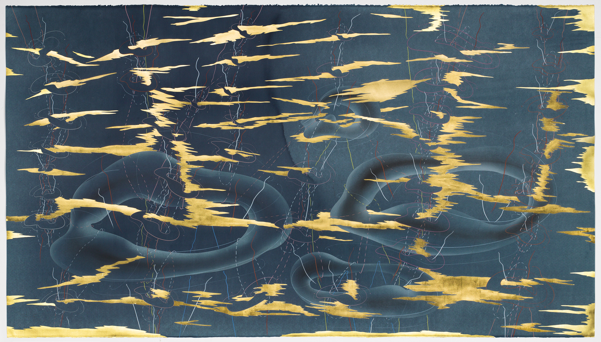 Jorinde Voigt, Immersive Integral Midnight III, 2018, Ink, gold leaf, pastel, oil, chalks, pencil on paper © Jorinde Voigt. Courtesy the artist and David Nolan Gallery, New York