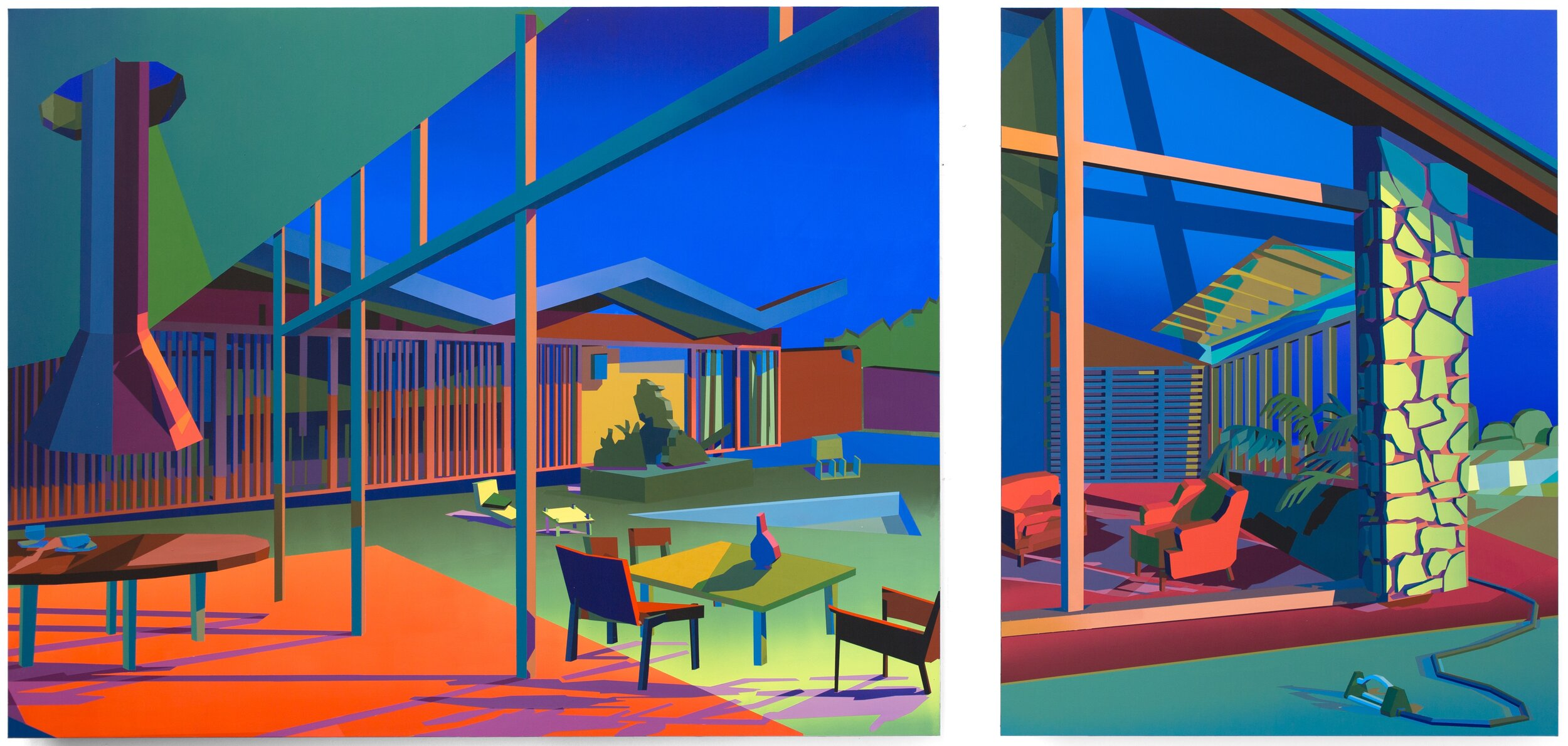 Jonathan Chapline,  Pool House (Dyptich),  2019. Acrylic, flashe on panel, 119 x 152 cm and 89 x 122 cm. Courtesy of The Hole (New York)