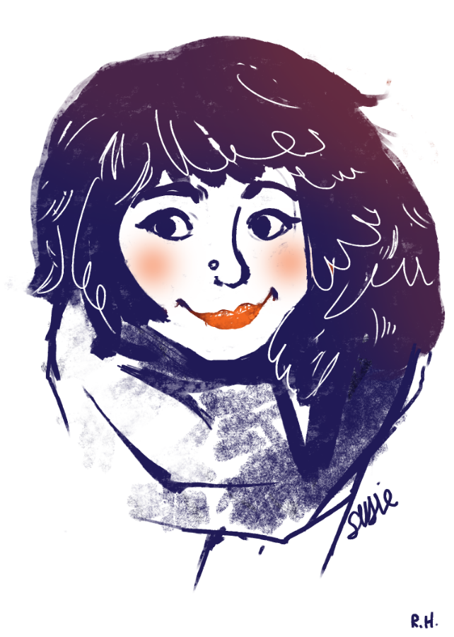 need to start thinking about a new style for an upcoming project.. this is just a little doodle of my friend Susie, who is off having adventures in South America at the moment.