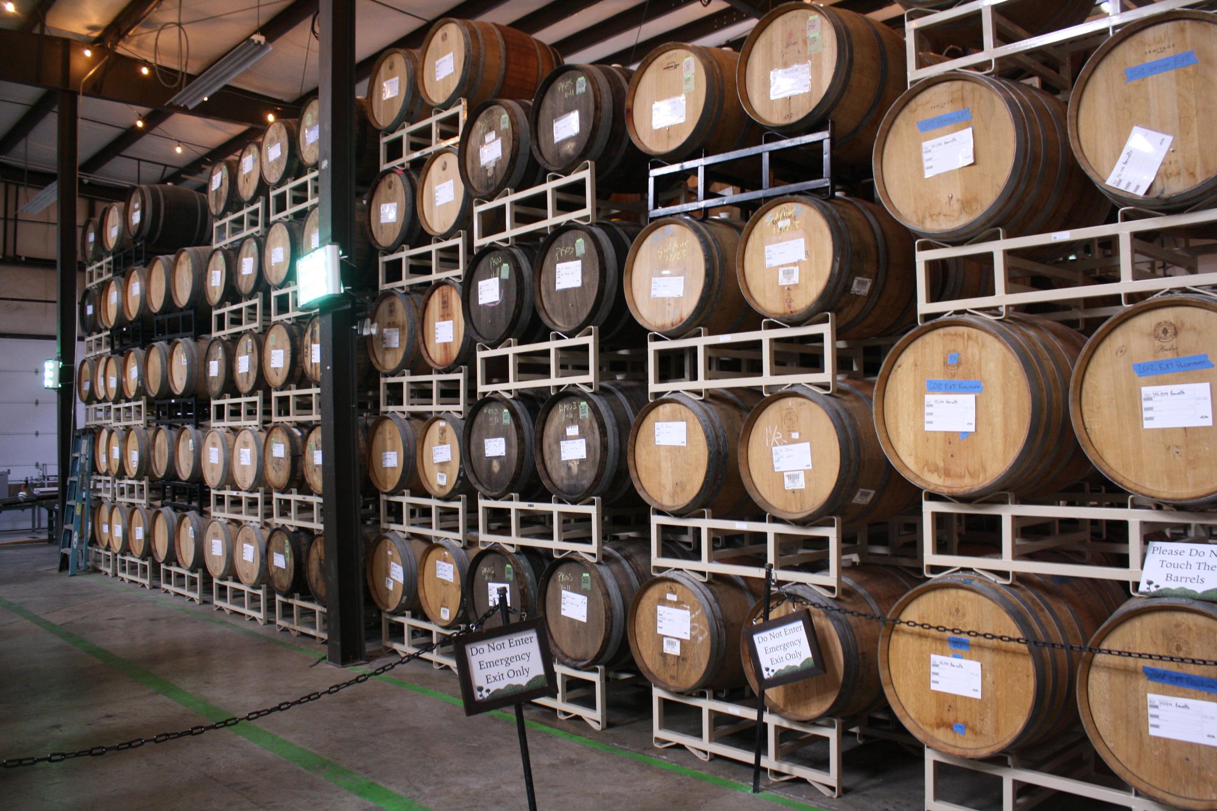 Funky beers aging in barrels at the Funkatorium.