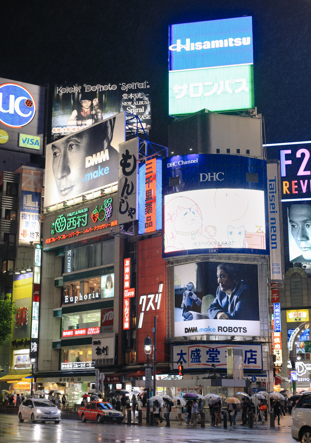 At the renowned busy intersection in Shibuya district. It's...uh... busy?