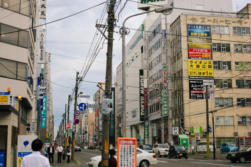 Street shot of downtown Sapporo. Nice and grimy --like Portland!