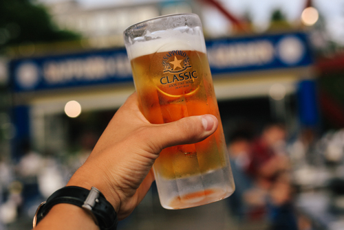 Drinking some Sapporo beer at the Sapporo beer garden in Sapporo -- SAPPORO, SUCKA!