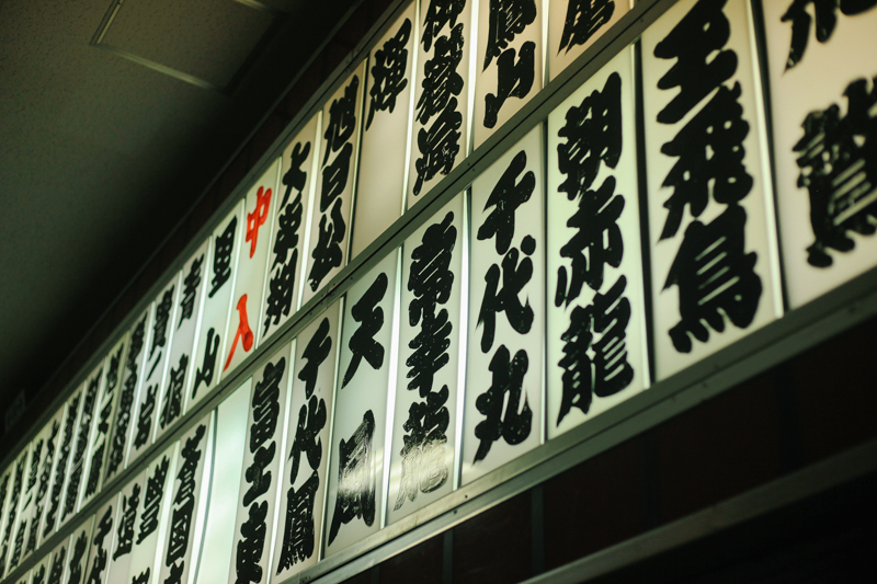 Hand painted names of all the famous sumo wrestlers lined the walls around the stadium.