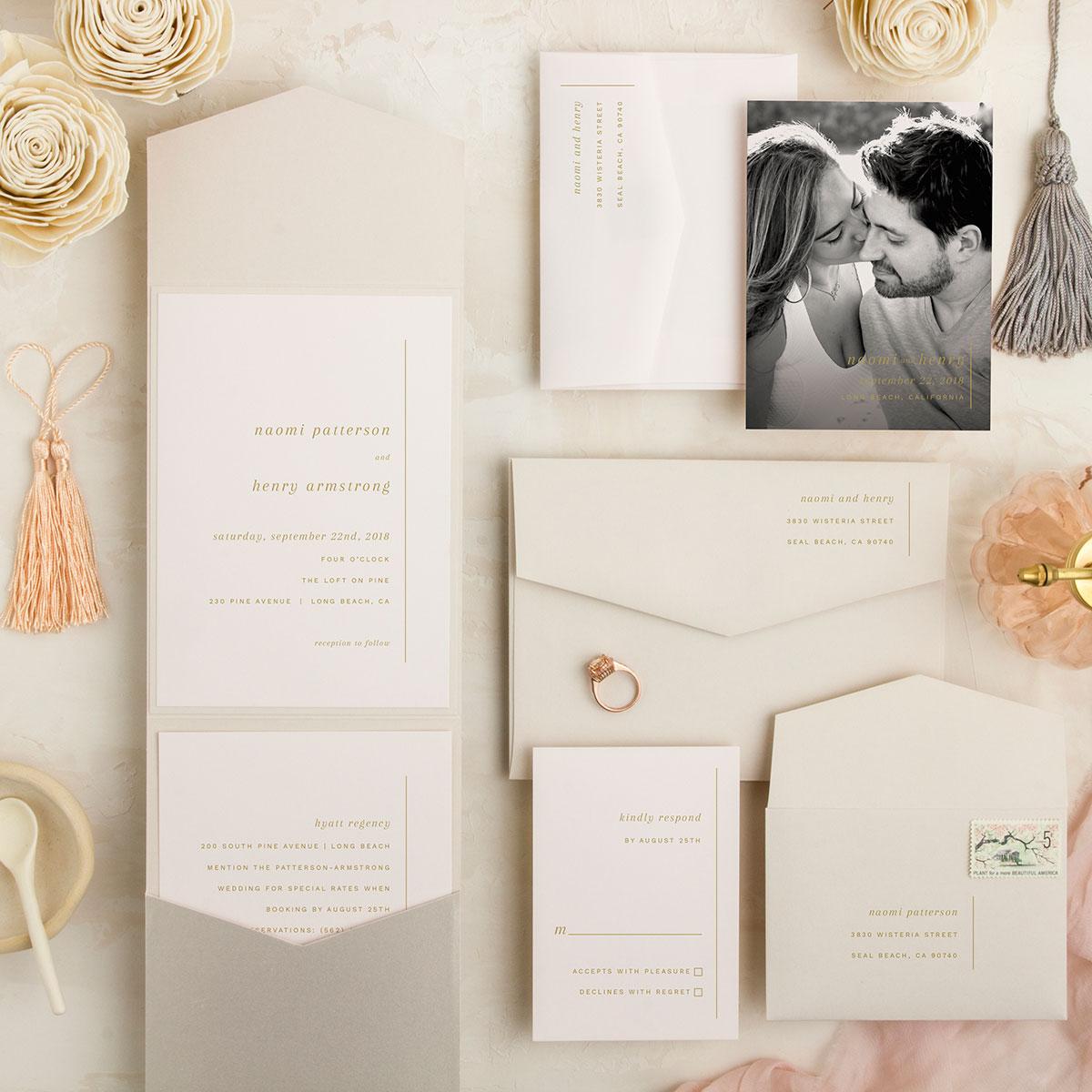 Gray and blush custom vietnamese english bilingual wedding invitations