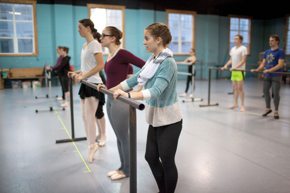 Warming up at the barre.