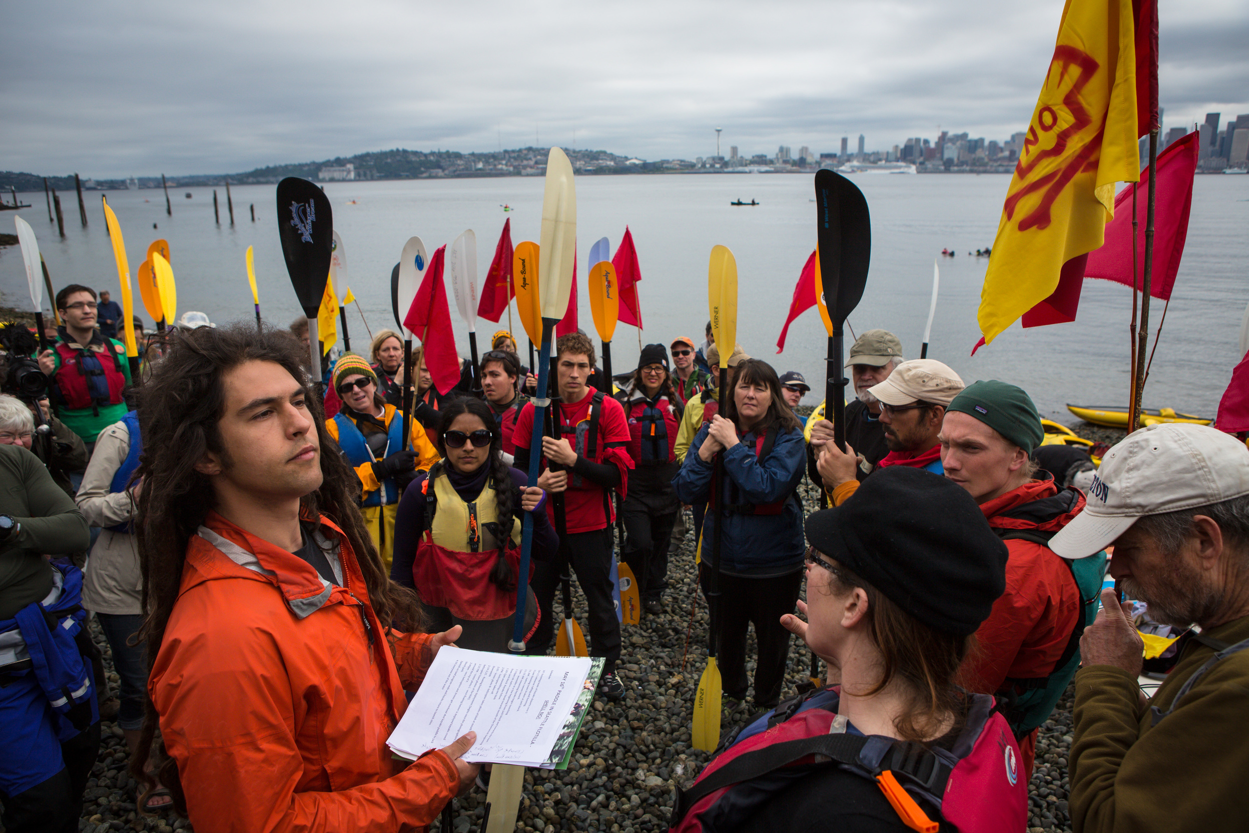 Kayaktivists prepare to take to the water during protest against drilling in the Arctic and the Port of Seattle being used as a port for the Shell Oil drilling rig Polar Pioneer. The protest flotilla drew many paddlers to show their displeasure with the rig being moored in Seattle. Photographed on Saturday, May 16, 2015.