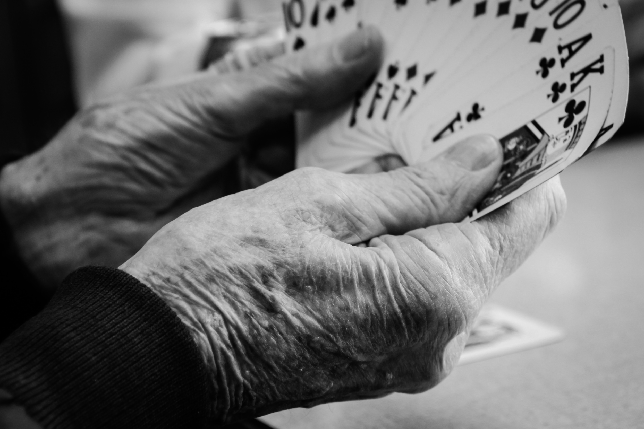 """Ralph Carmichael, 90, cradles his cards in a game of Pinochle at the senior center. Carmichael keeps a USB drive in his pocket that contains his entire """"history"""" as he calls it."""