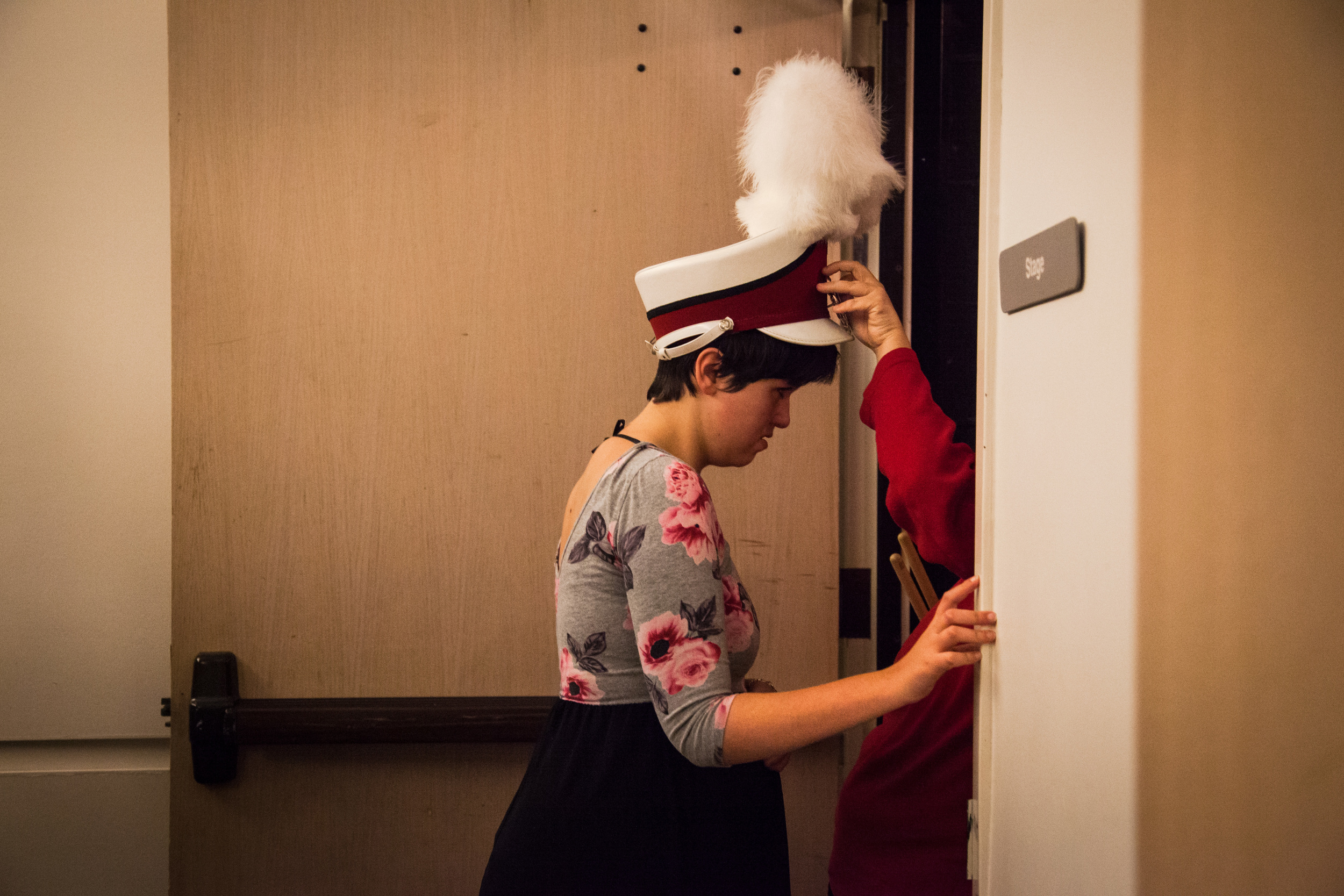 Jessica Peterson, 21, prepares to go onstage before the opening act of The Twelve Days of Christmas during the Snohomish County Capernaum's Got Talent Variety Show hosted by Young Life on December 5, 2015. The evening showcased the talents of young people living with disabilities as they performed onstage in the Public Utility District building.
