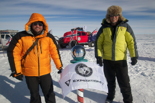 The guys from Expeditions7 at the South Pole sporting Vulture Gear! Photo courtesy Overland Journal