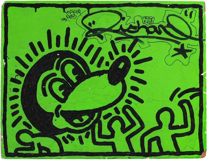 Keith Haring, Untitled, 1982, Acrylic and ink on wood. Image from  mcny.org