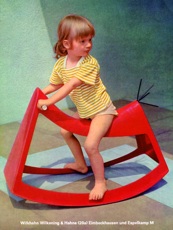 German industrial designer Walter Papst also developed children's toys in plastic for Wilkhahn, including the abstract red glass-reinforced polyester Rocking Sculpture from 1958. ©Wilkhahn
