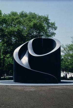 Isamu Noguchi, Black Slide Mantra, 1966-1989. Black granite. Installed at Odori Park, Sapporo, Japan. Photo by Michio Noguchi.