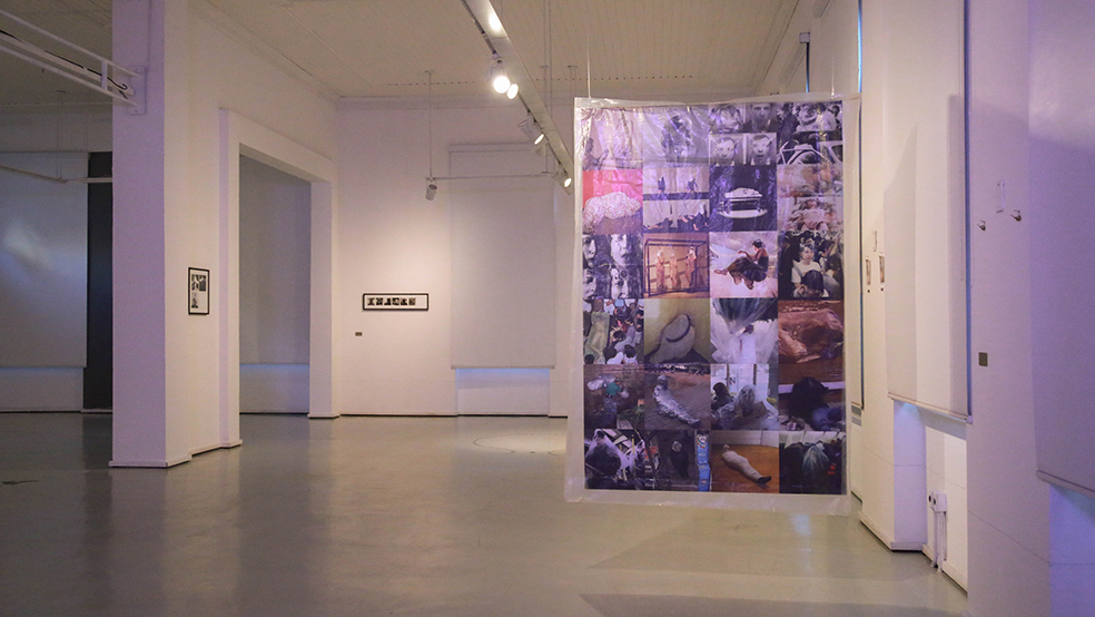THE PACKAGE'S CONVICTION    Dual-phase Photography measured 1.90cm high by 1.20cm wide, wrapped in a transparent plastic bag and hanging from the ceiling.    One hand of the photograph shows a collage of images of people who are inside plastic packages and the other side displays Monroy's inside a package along with a descriptive and chronological narrative of the images that are part of the collage printed on the opposite side of photography. The piece proposes a re-formatic, historical and critical reading of pieces in art history and gestures of everyday life that for different reasons made use of performatic package from 1965 to the present days.
