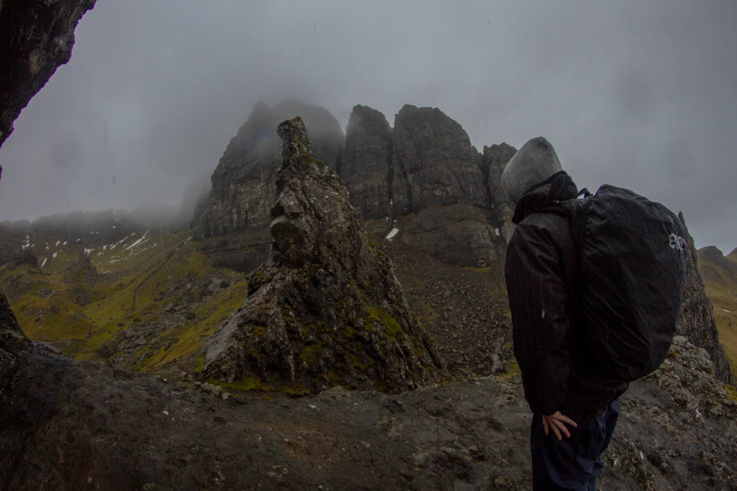 Looking up at the Old Man of Storr as you hike is impressive but once you see beyond that you are met by massive cliffs.