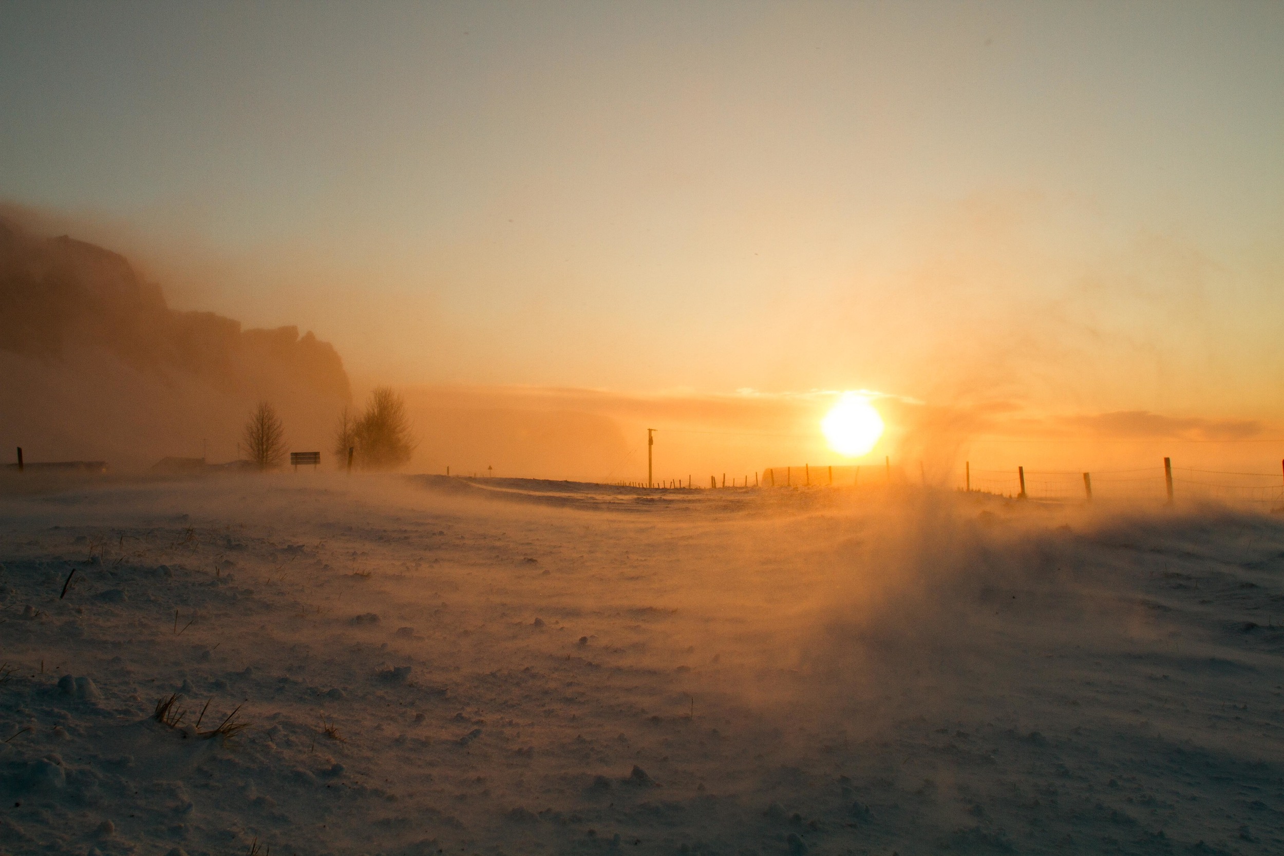 Snow drift at sunrise in  Hörgsland