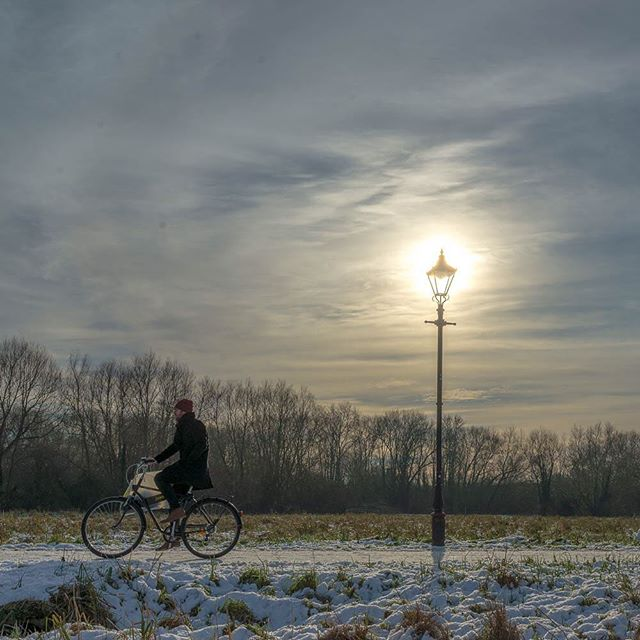 A low winter sun over the Marston Cycle Path today. #zeuxisphotography #marstoncyclepath #snow #scholarsonwheels #lamppost #oxford