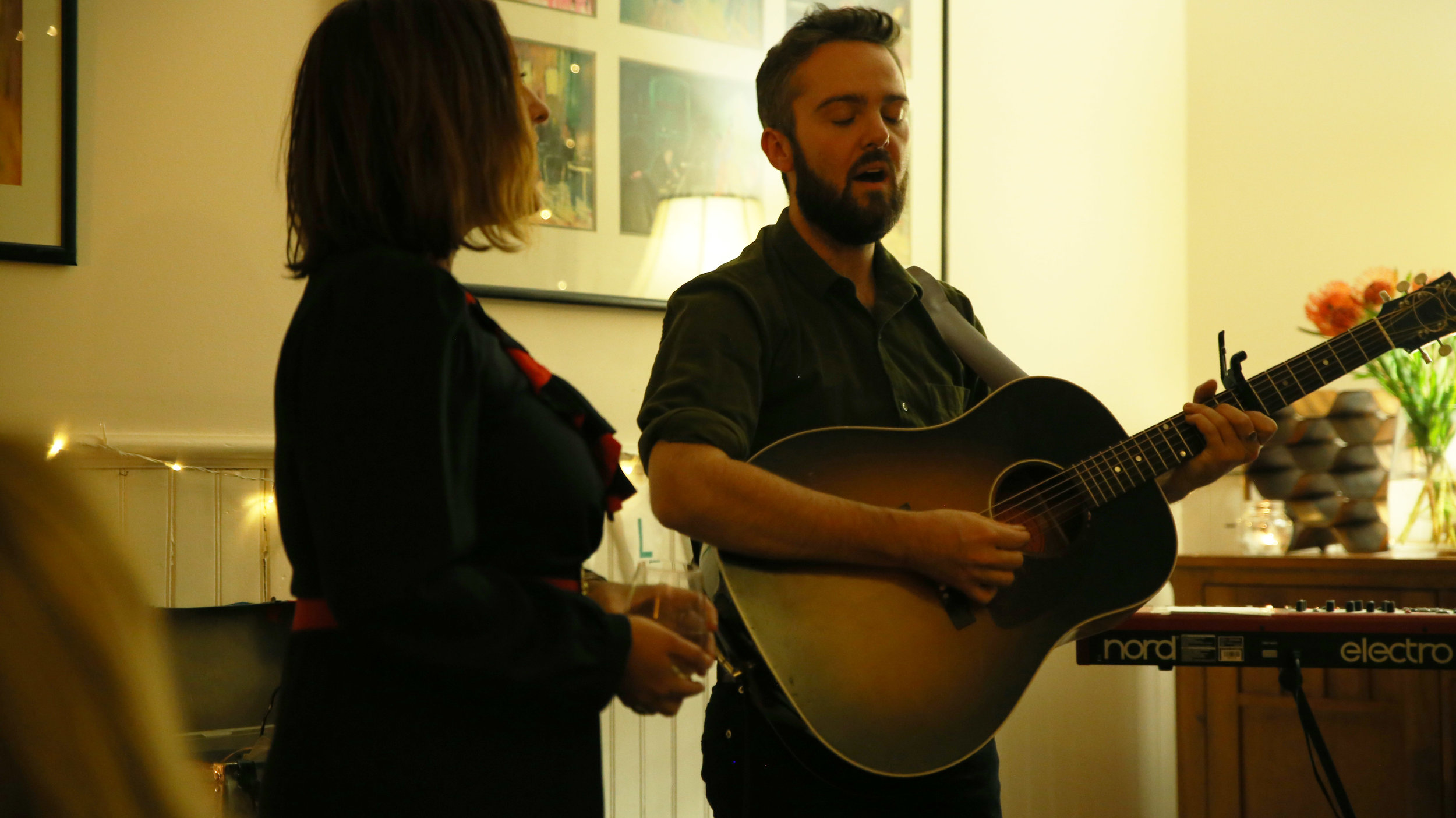 "Jordie Lane & Clare Reynolds at Kath's place    ""Jordie and Clare Reynolds stopped the whole room in their tracks. Such powerfully talented musicians, songwriters and storytellers, Jordie and Clare took us through a journey of old and new tunes, including songs from the latest album, Glasshellland"""