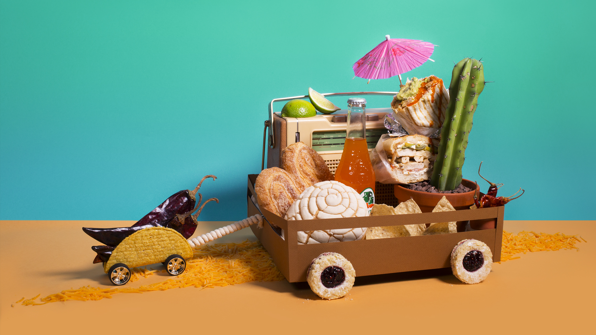 All the delicious fooooood illustration for    Driving The Mexican Mother Road   –Gustavo Arellano