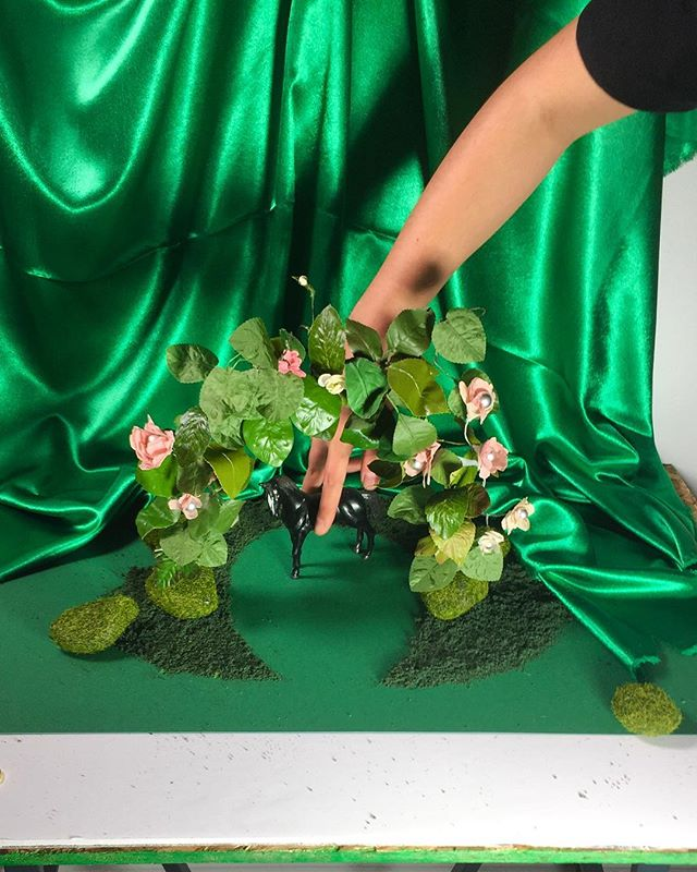 Festive 🌲🍀🌿@partyofonestudio #bts from earlier this year. Hoping for more #knuckleknees in the new one. 🤣 . . . #miniature #designspiration #colorcolorlovers #ladygodiva  #secretgarden #photoillustration #itsnicethat #setdesign #surrealism #partyofonestudio