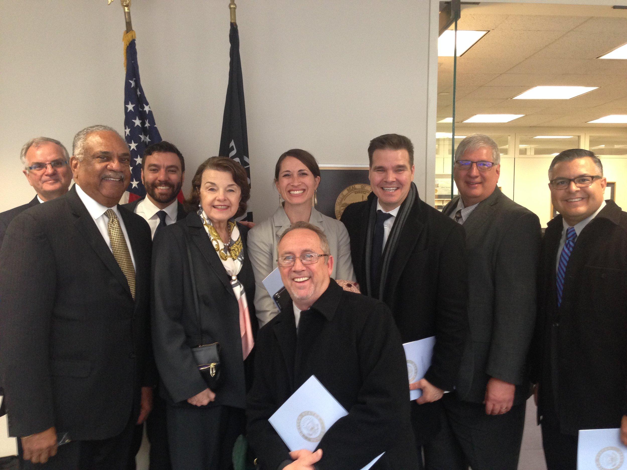 Senator Diane Feinstein and VRM staff, Kern County Mission, LA, and San Diego mission reps