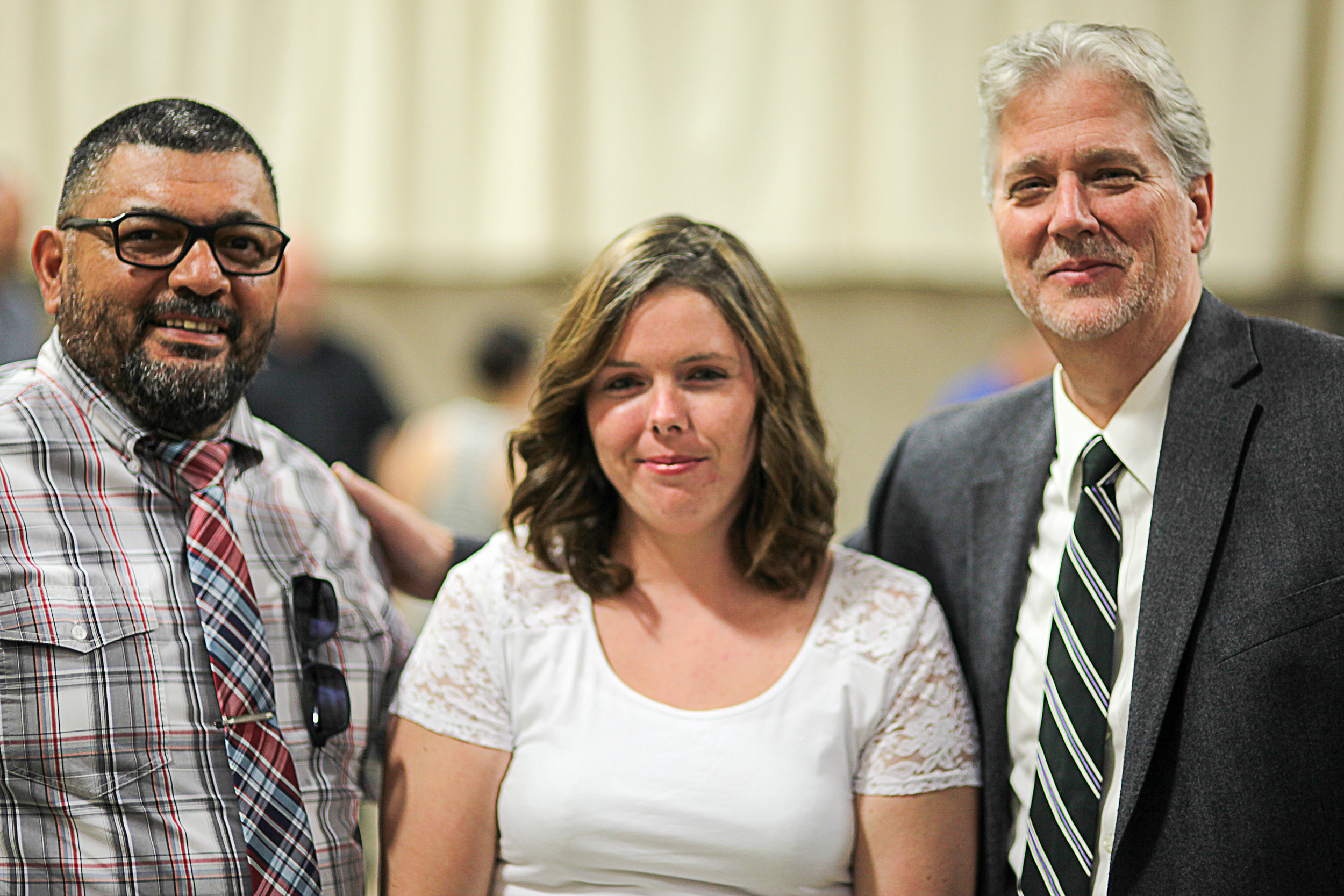Probation Officer Gene Fernandez (L) and Judge Gary Johnson (R) attended our Life Change Academy graduation in September to celebrate Lanessa}