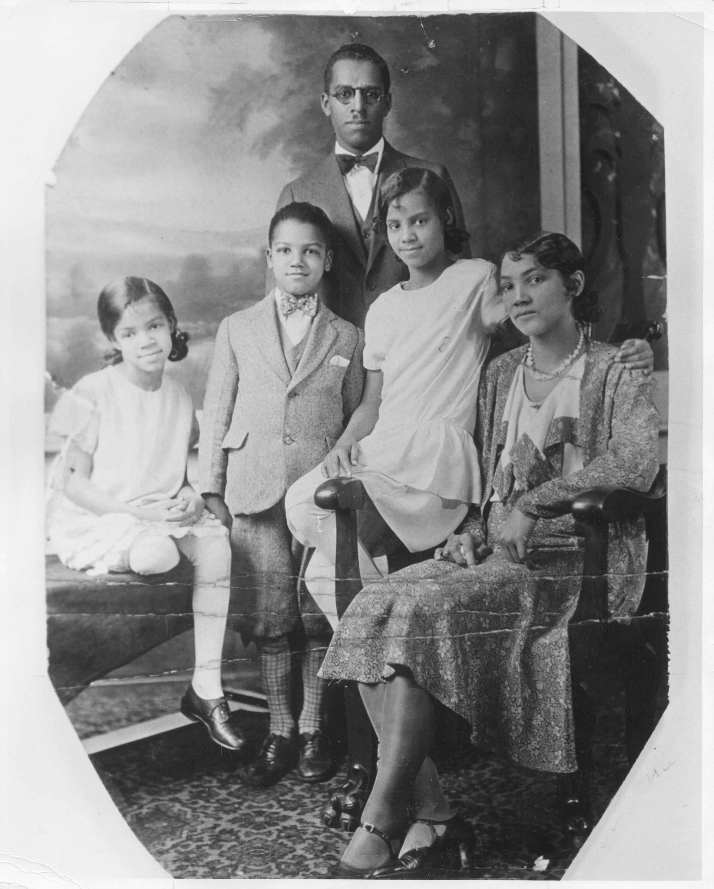 The Young family: Parents Whitney Sr. and Laura, children Eleanor, Whitney, and Arnita