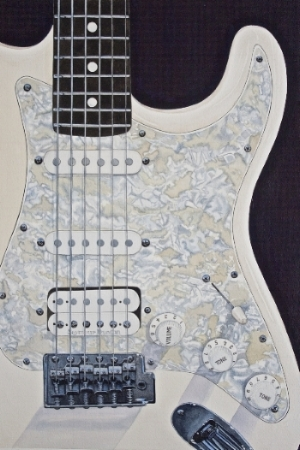 """WHITE STRAT"" - This is the second painting in my guitar series, a beautiful white Fender Stratocaster!    Giclee Print, Image Size 12"" w x 18"" h, Signed and numbered edition of 200. Priced at $125.00 including shipping within the continental US.    Also available as a smaller print - image size 7"" w x 10""h, signed and numbered edition of 500. $25.00 plus $5.00 shipping within the continental US.    NOTE: The Original Water Color is available, as well - see details in the ORIGINALS Section.    -----------------------------------------------------------------------------------"