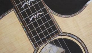 """ABSTRACTLY ACOUSTIC""    Third in the guitar series, this my up-close take on a very nice Taylor Acoustic.    Giclee Print - Image size approx. 21.5"" w x 12.5"" h, signed and numbered edition of 200. Price $175.00 includes shipping within the continental US.    The Original Water Color is also available - see the ORIGINALS Section for details."
