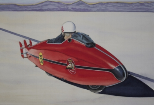 """BURT'S SALTY ADVENTURE"" - depicts Burt Munro's assault on the Bonneville Salt Flats with his ancient Indian Motorcycle as depicted in the movie ""The World's Fastest Indian""    Giclee Print, image size 18"" w x 12"" h, signed and numbered edition of 200. Price $125.00, includes shipping within the continental US.    Also available as a smaller print - image size 10"" w x 7"" h, signed and numbered edition of 500. $25.00 plus $5.00 shipping within the continental US."