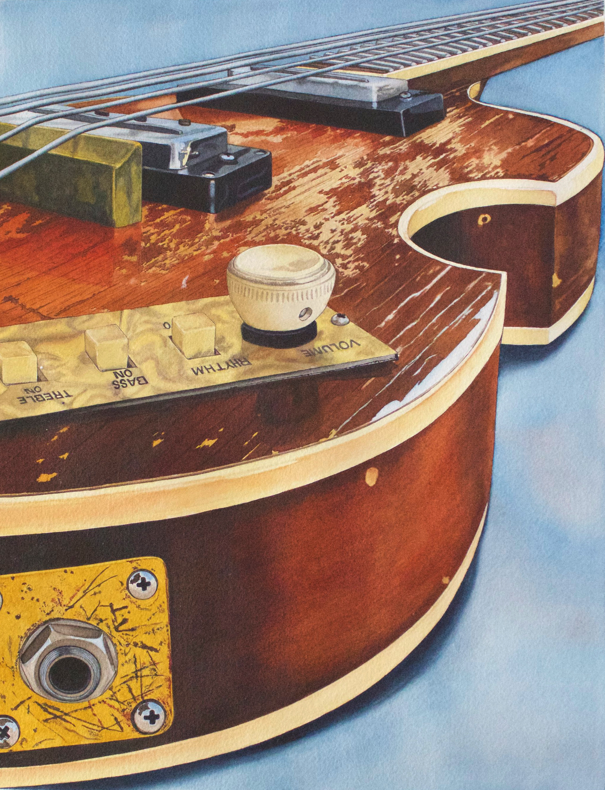 """NOW AVAILABLE! 'RODE HARD AND PUT UP WET"""" - The most recent of my series of guitar paintings, depicts the well worn Hofner bass of my friend Steve Stoeckel of the world renowned band The Spongetones. The original water color is available, as well as Giclee prints. Includes a Spongetones photo by Laura Sessions Tinnel signed by Steve himself! See in Originals, and look for the print in Other Subjects."""