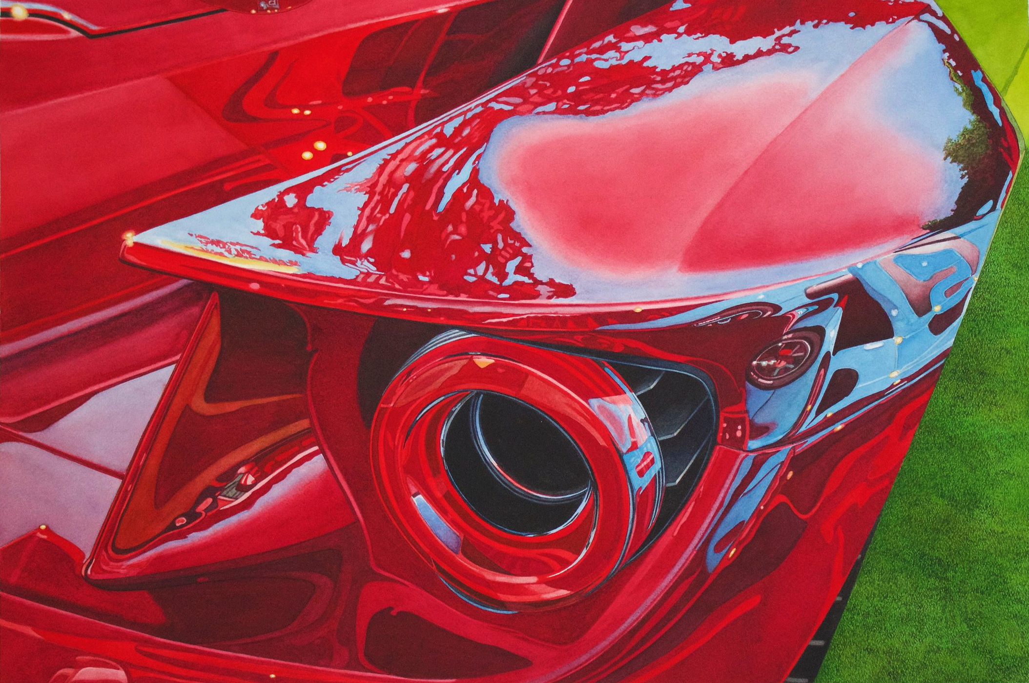 """NEW! """"AMERICAN EXOTIC"""" - MY INTERPRETATION OF FORD'S NEWEST GT - details in ORIGINALS, with prints to follow."""