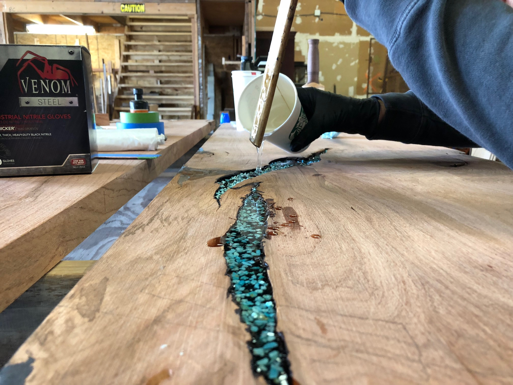 Live Edge Turquoise Inlay Bar Top