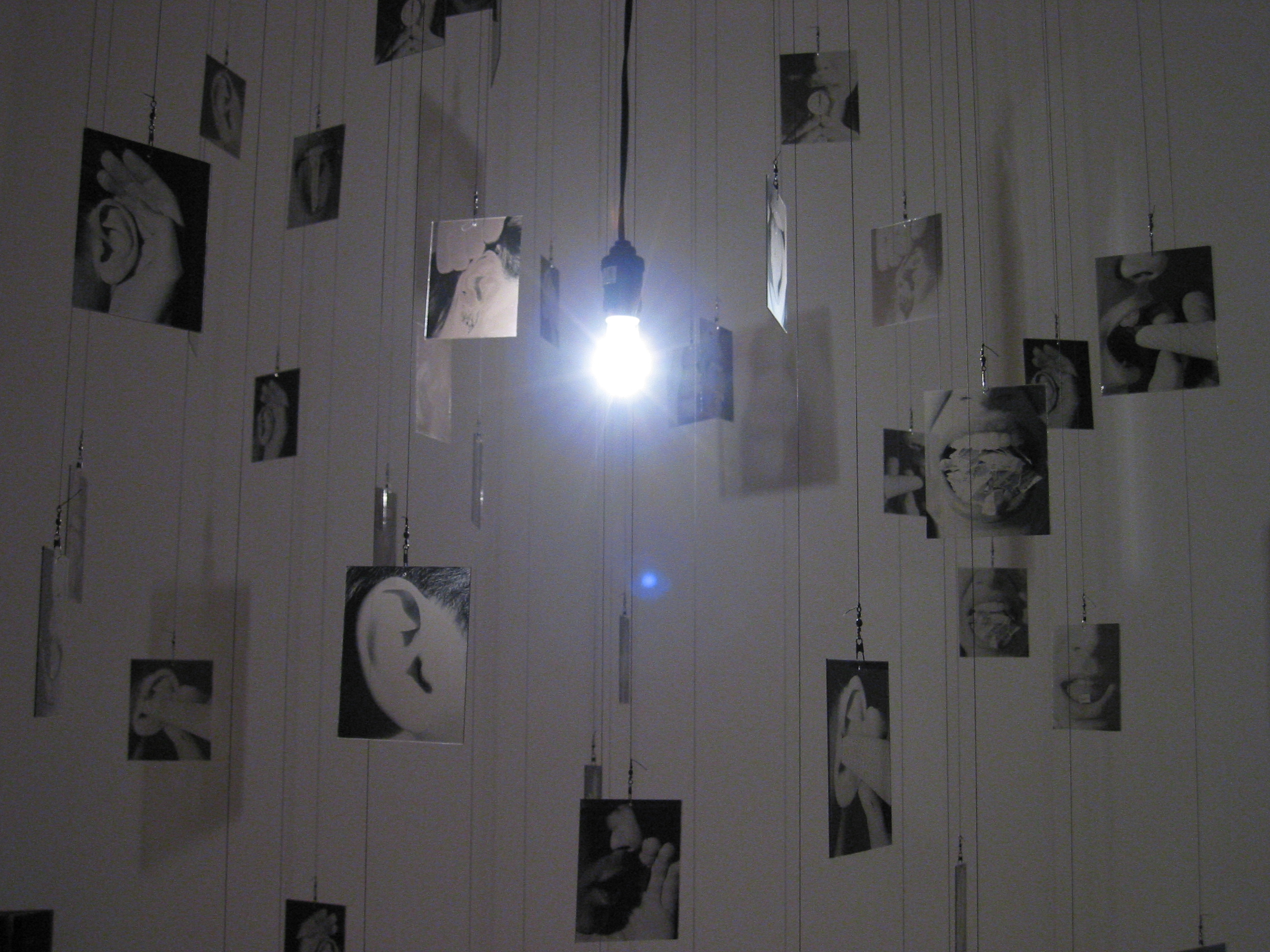 70 photographic images on glass suspended from the ceiling, lightbulb, projections, sound recording, fishing tackle.Installed at SPACES gallery, Cleveland, Ohio.