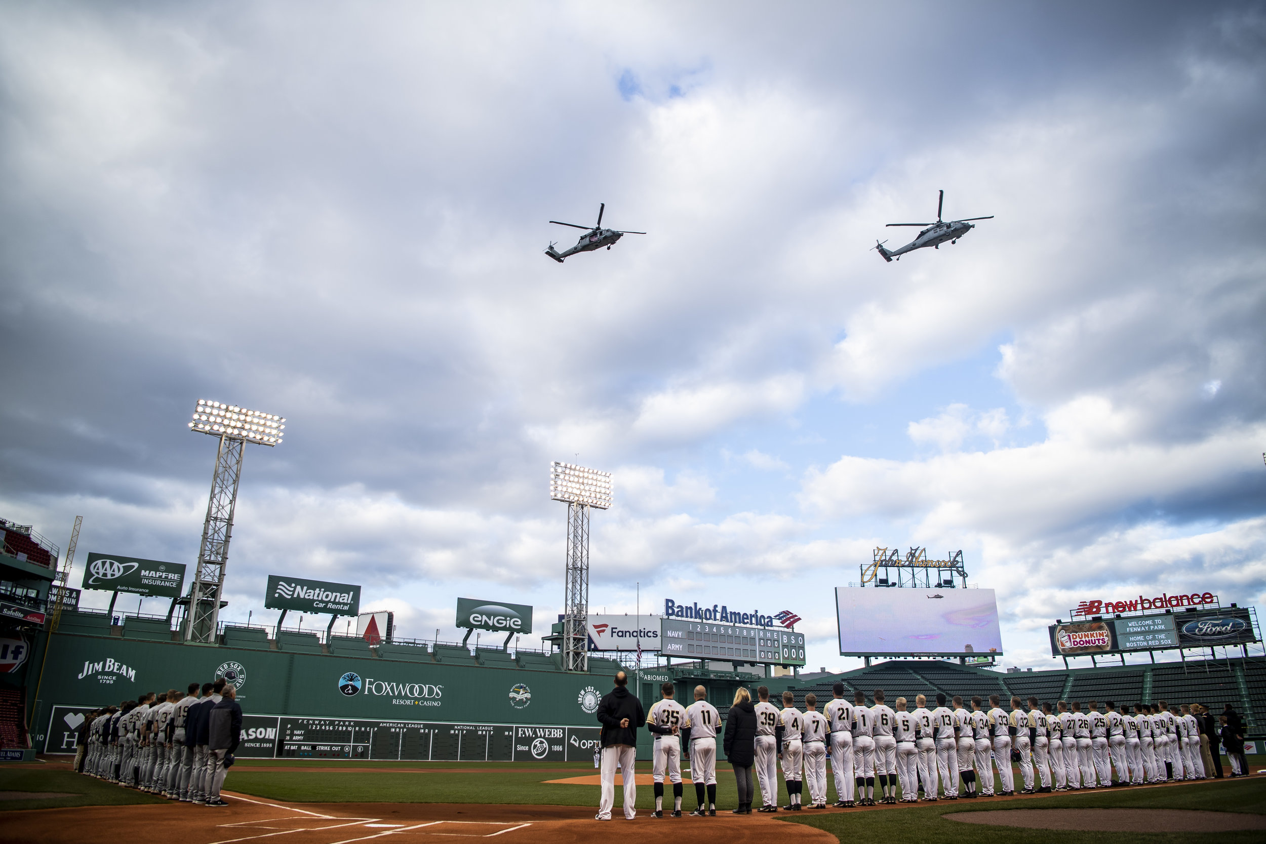 April 20, 2018, Boston, MA: Helicopters fly over the ballpark before Army - West Point faces The Naval Academy at Fenway Park in Boston, Massachusetts Friday, April 20, 2018. (Photo by Matthew Thomas/Boston Red Sox)